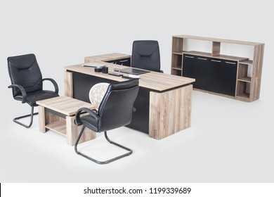 Office Furniture İsolated, white backround, desk, armchair