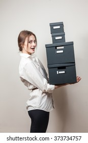 office girl with boxes