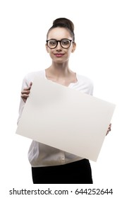 office girl holds in hands blank white plate on a white background.