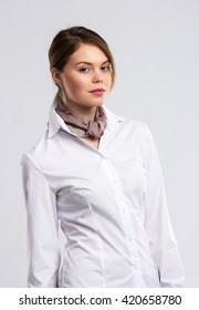 Office girl in white blouse