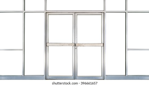 Office Glass door and window into office room with copy space