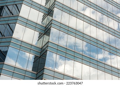 Office glass windows with beautiful reflection in Hong Kong, Asia.