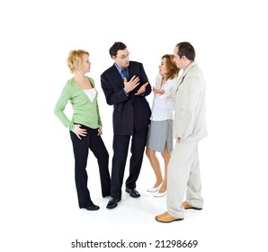 Office gossip people group of four - isolated