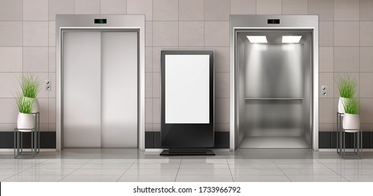 Office hallway with LCD screen floor stand, open and closed elevator doors. realistic empty lobby interior with lift, plants and blank advertising display. White billboard with copy space