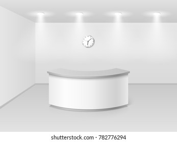 Office or hotel interior with reception counter desk 3d illustration. Hall business interior with counter empty
