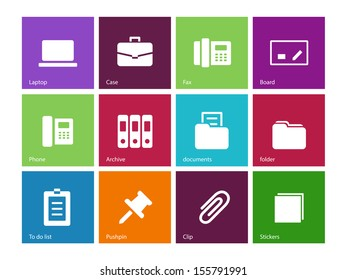 Office icons on color background. See also vector version.