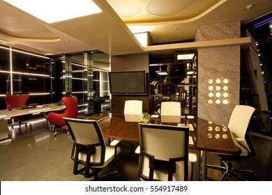 Office Interior Night Time