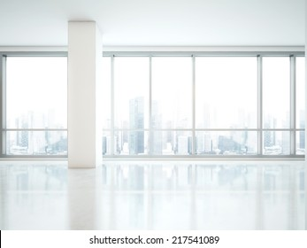 Office Interior. Panoramic Window With City View
