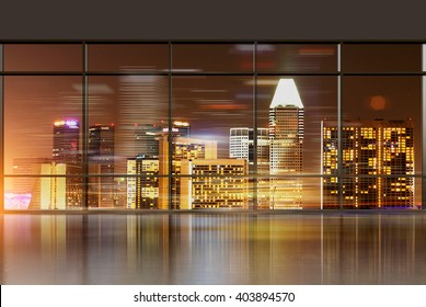 Office interior with panoramic windows revealing Singapore cityscape. 3D Rendering