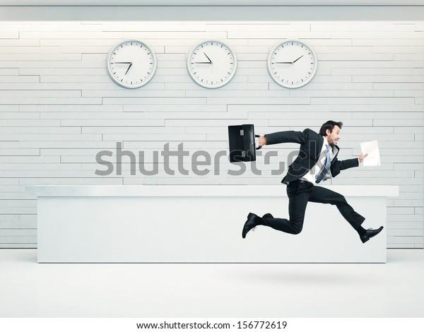 office interior with running businessman