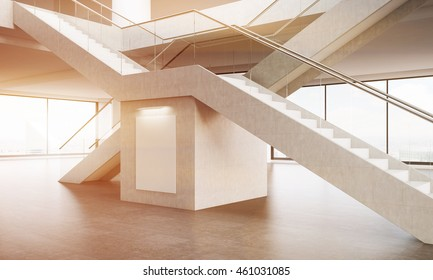 Office interior. View of crossed staircases. Large poster under them. Panoramic windows. Concept of climbing to top. 3d rendering. Mock up. Toned image.