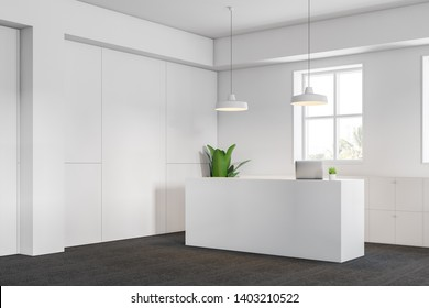 Office interior with white walls, carpeted floor and white reception desk with computer near file cabinets. 3d rendering