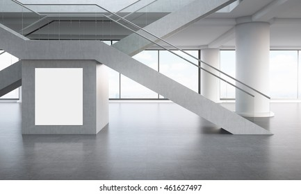 Office interior. X shaped staircases. Concrete floor. Large vertical poster on wall. Broad columns in background. Concept of comfortable workplace in big city. 3d rendering. Mock up.