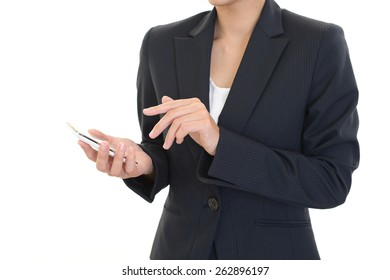 An office lady who has a smart phone