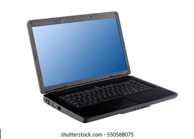office laptop with blue screen isolated on white background