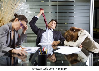 Office life: business team during a meeting