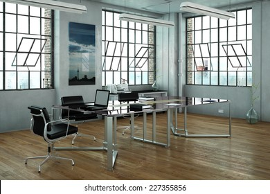 Office in a loft with glass desk and chairs (3D Rendering)