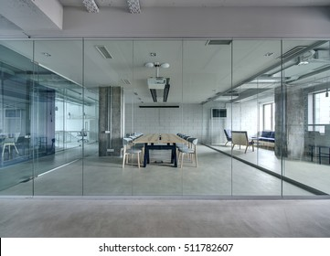 glass walls office. Office In A Loft Style With White Brick Walls And Concrete Columns. There Is Glass
