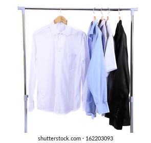 Beautiful Office Male Clothes On Hangers, Isolated On White