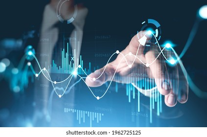 Office man finger touch hud, virtual screen with stock market changes, business candlesticks graph chart. Double exposure of blue and white lines, growing numbers, online trading - Shutterstock ID 1962725125