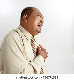 Office manager holding hands on painful chest. Medical concept. Heart attack