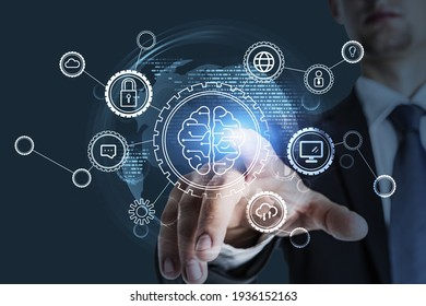 Office manager point on a drawing of human brain, double exposure. Data security and cloud, gears and personal information. Concept of business ideas and data storage