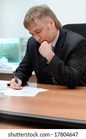 office manager signing the document