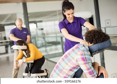 Office massage at mobile chair