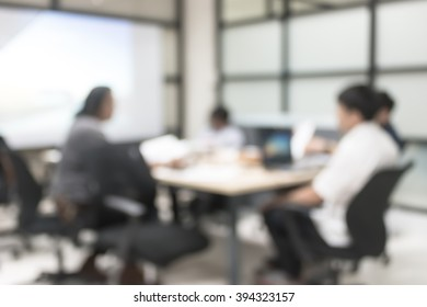 Office meeting blur background business people working in team discussion or small seminar group
