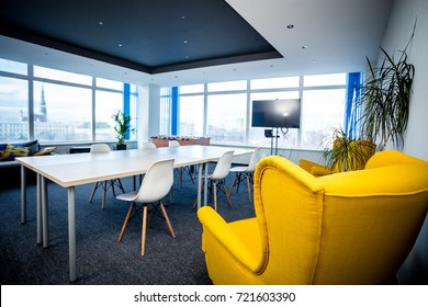 Office meeting room interior in Riga with yellow chair