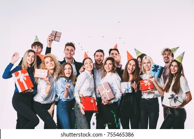 Office new year party. Young people having fun. Celebration concept.