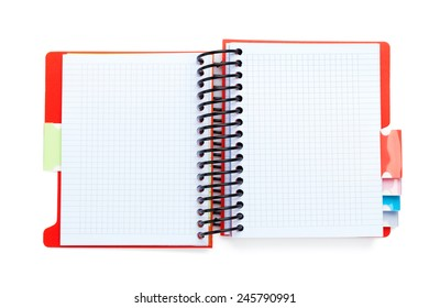 Office notepad. Isolated on white background. View from above