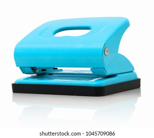 Office paper perforator isolated on white background with shadow reflection.  Office tool that is used to create holes in sheets of paper. Paper Metal Stationary Hole Puncher. Office file-punch