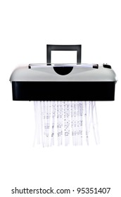 Office paper shredder at work - isolated on white background
