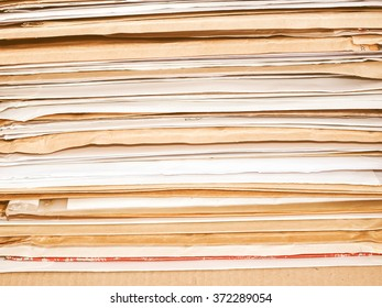 Office papers in a folder vintage