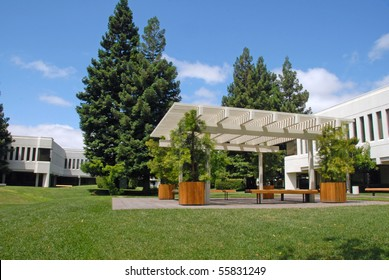 Office Park Garden Sitting Area With Large Arbor