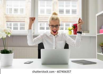 office person celebrating success