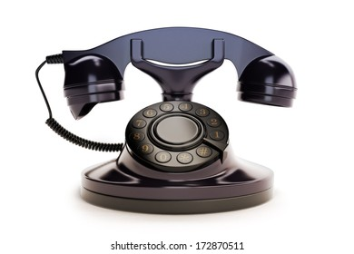 Office Retro Telephone Black on a white background