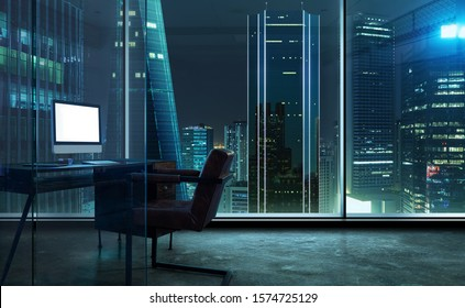 Office room with blank computer display,table,chair,cement floor,glass walls with night city view.  Mixed media .