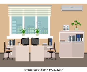 Office room interior including two work spaces with cityscape outside window. Flat style illustration.