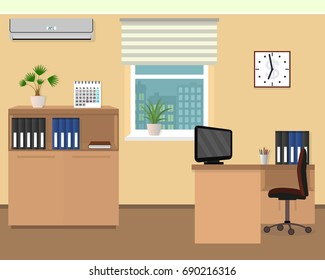 Office room interior. Workspace design with clock, air conditioning and cityscape outside window. Flat style illustration.