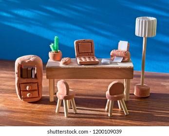 Office room made of clay, workplace for freelancer, designer, programmer, manager