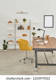 Office room, working table, wooden decorative table, interior.