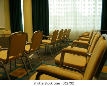 Office room with yellow chairs