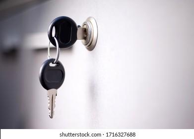 office safe key on gray background. mockup