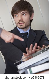 office scene - business man rejecting office work