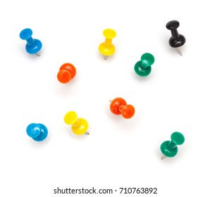 Office / School Objects: Multi COlored Push Pins with little drop shadow Isolated on White Background
