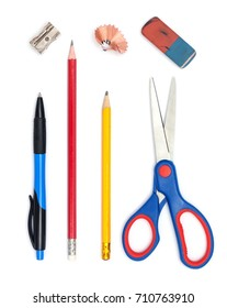 Office / School Objects: Pen, Pencils, Eraser, scissors, pencil sharpener all isolated on white background