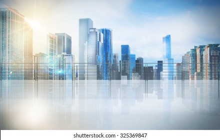 Office in a skyscraper with urban view