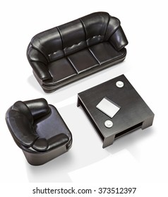 Office sofa on a white background top view